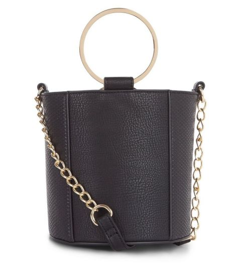 black-leather-look-metal-handle-mini-bucket-bag