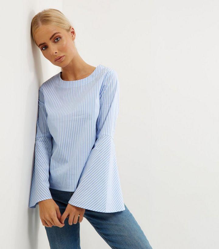 blue-stripe-flare-sleeve-top