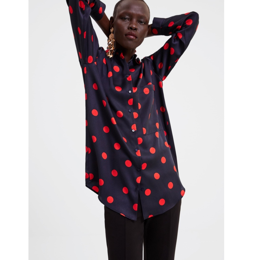 4aedab5b88 If animal print isn't your thing, how about a Zara polka dot blouse €19.95  click here to buy.